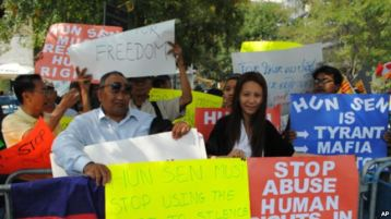Anti-Hun Sen protesters focus on human rights and democracy.